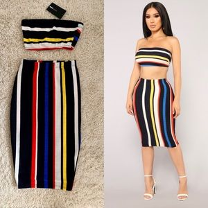 Fashion Nova Power Stripe Skirt Set